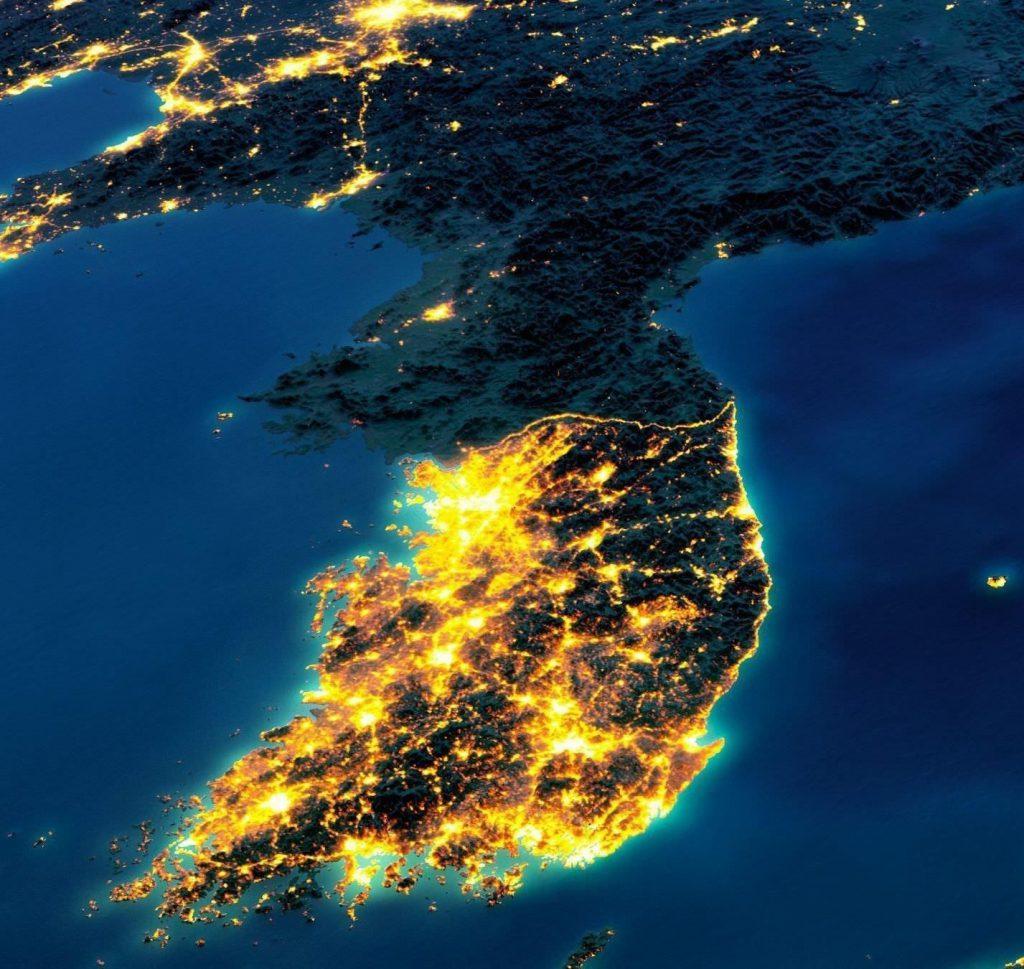 شبه جزیره کره در شب